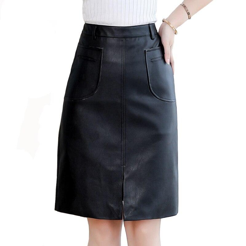 2020 mode printemps femmes en cuir jupe grande taille Vintage bureau dames jupe courte rétro taille haute soirée noir jupes