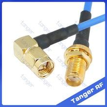 "SMA macho ángulo recto a SMA Conector hembra con RG405 RG086 cable Coaxial azul 8 pulgadas 8 ""20 cm RF baja pérdida Coax"