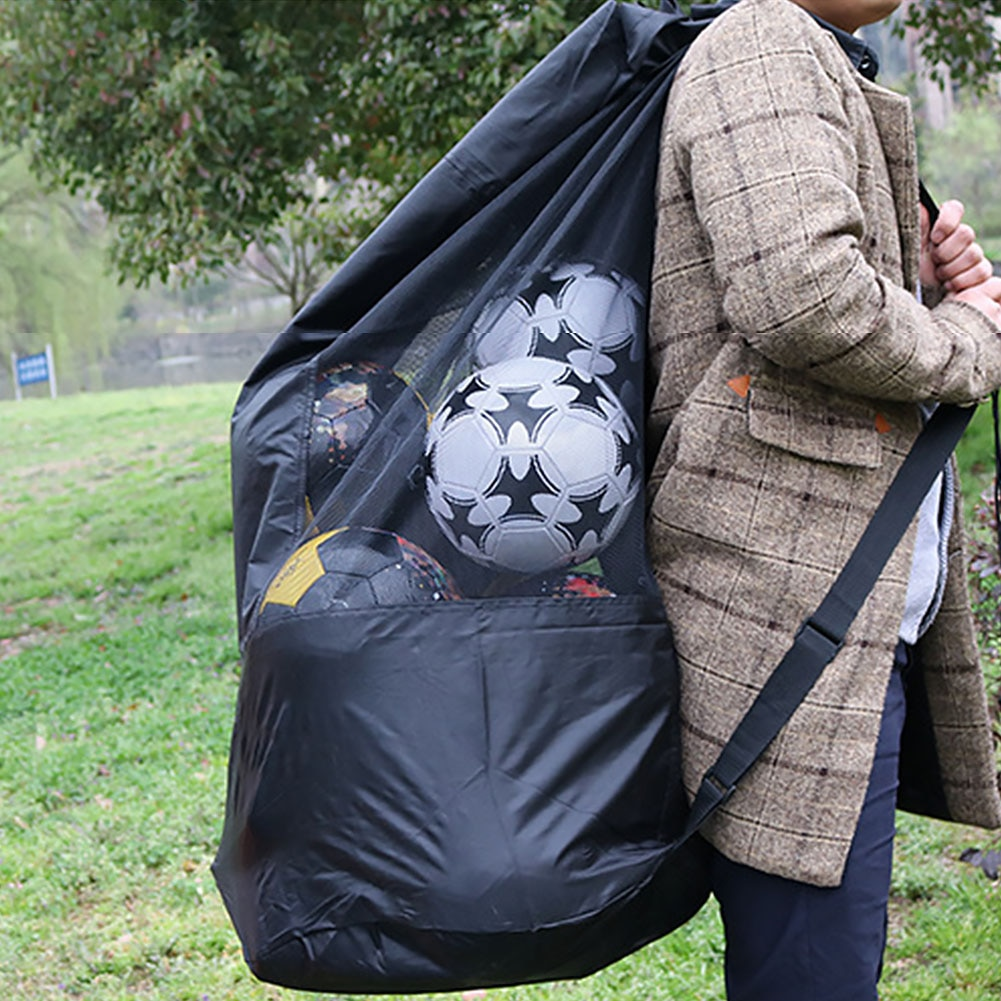 Outdoor Football Waterproof Sports Mesh Drawstring Soccer Large Carrying Bag Net Shoulder Ball Bag Tote Sack for Football Bag