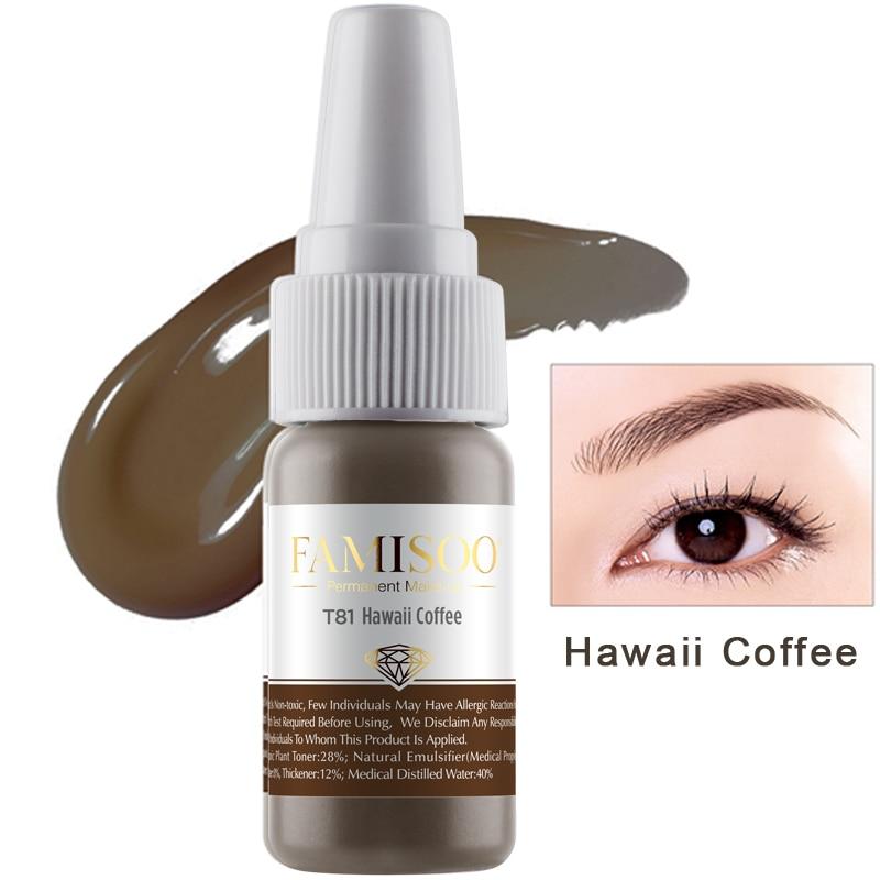 FAMISOO T81 Hawaii café maquillaje permanente de la tinta del tatuaje del pigmento 15 ml/botella para cejas maquillaje pigmento pigmentos microblading