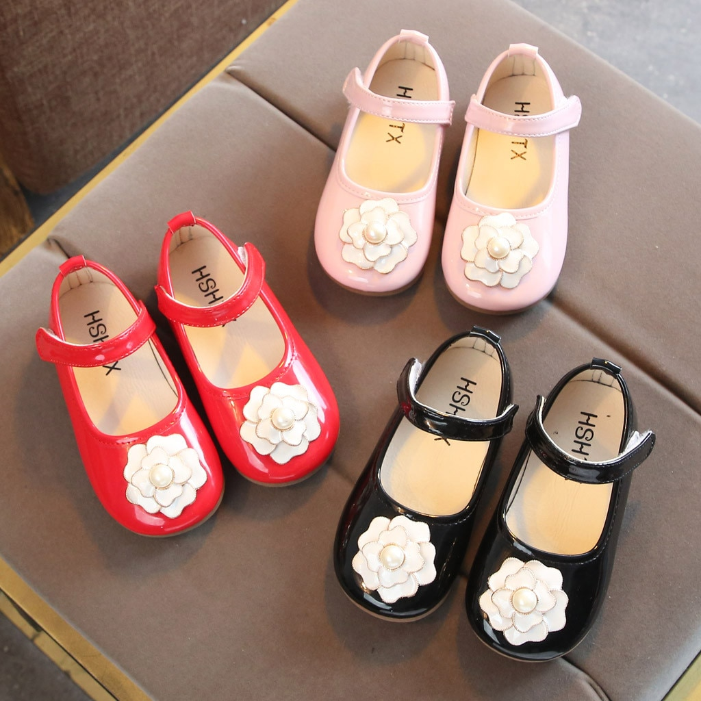 Niños pequeños niñas flor Camelia con perla princesa Zapatos Sandalias scarpe neonata zapatos para niñas calzado para niños (tamaño de EE. UU.)