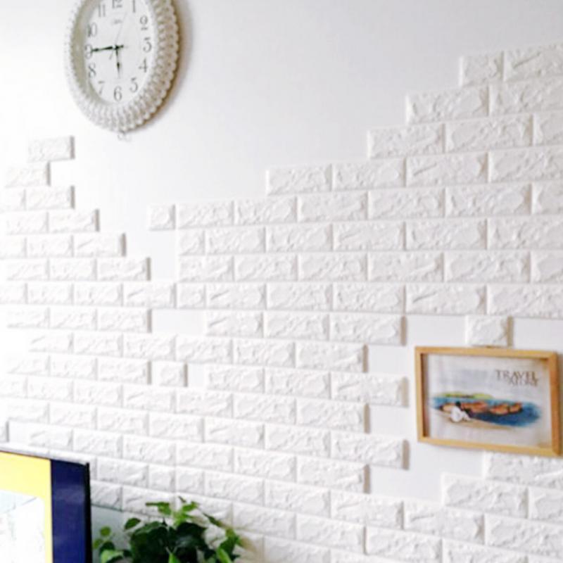 Panel de ladrillos de pared 3D de 70x77 cm, patrón de ladrillos autoadhesivos, paneles de pared, adhesivo DIYl impermeable para sala de estar