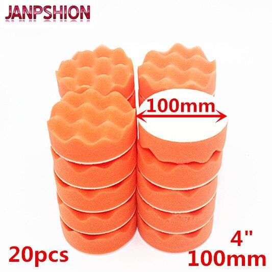 "JANPSHION 20PC 4"" 100mm wave sponge Gross Polishing Buffing Pads car Clean waxing Auto paint maintenance care"