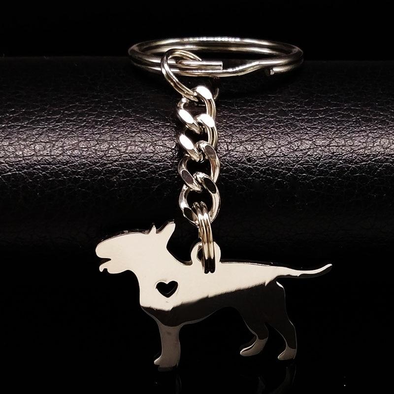 2020 Fashion Bull Terrier Hund Edelstahl Schlüssel Kette Frauen Mode Silber Farbe Pokemon Keychain Schmuck porte clef K936S01