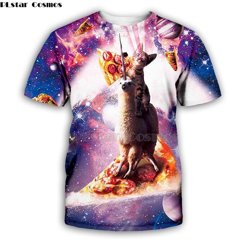Starry sky Alpaca unicornio caballo gato camisetas hombres/mujeres 3d camiseta/hoodies verano Tops camisetas ropa de manga corta Casual Wear-6