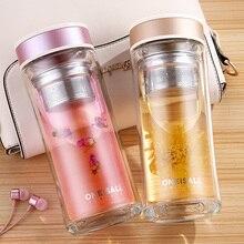 Oneisall Dubbelwandige Glazen Koffie Thee Mok Fles Water Beker Met Thee Filter Kantoor Koffie Tumbler