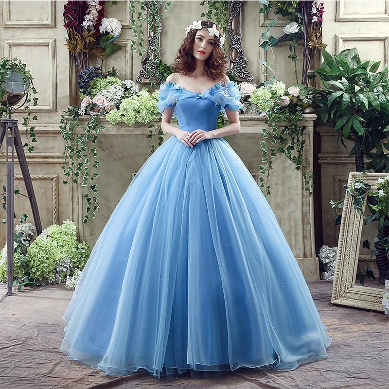 Лидер продаж, сказочные платья 16, пышные бальные платья светло-голубого цвета с открытыми плечами и бабочкой из органзы