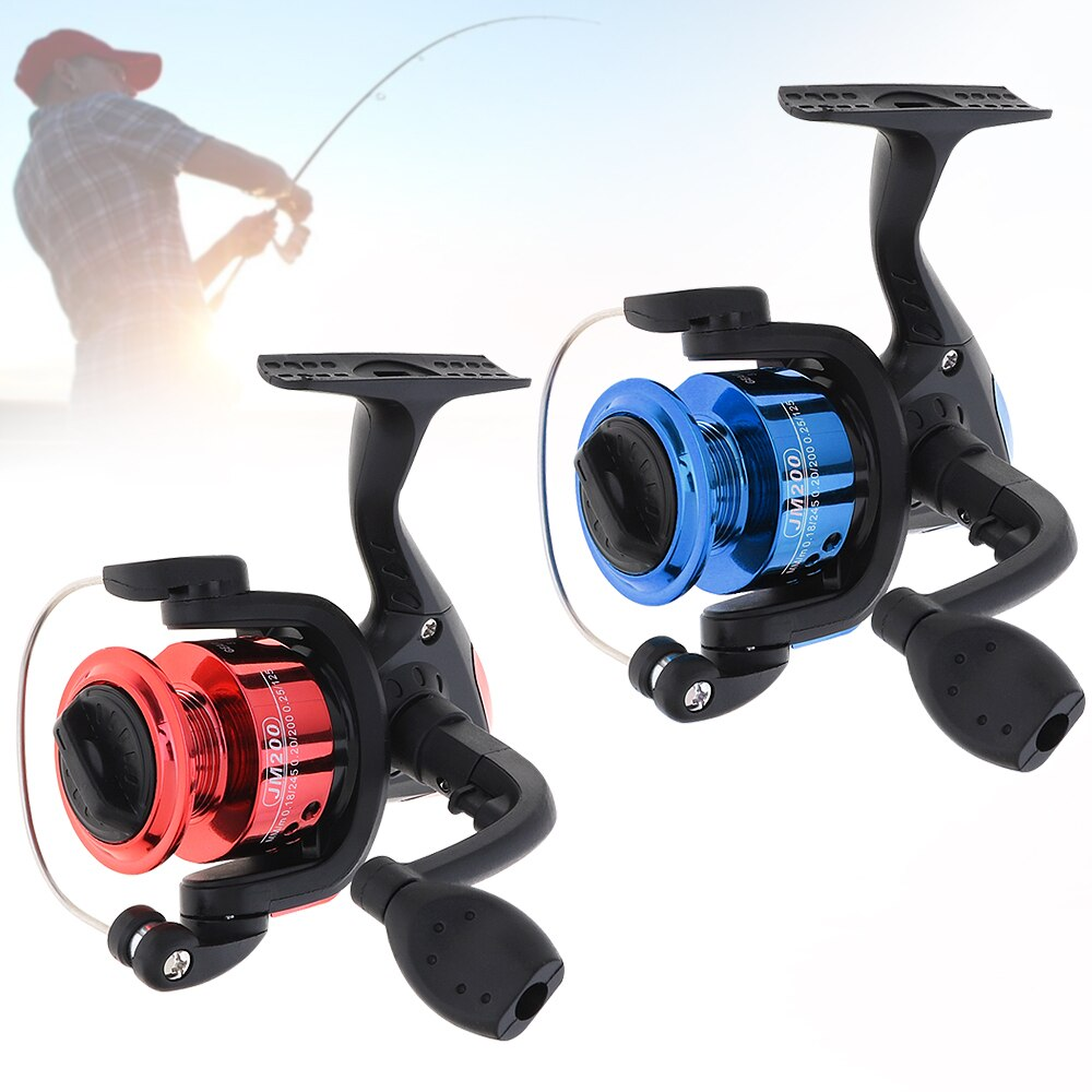 Mini carrete de pesca giratorio de agua salada, modelo 200, 100m 3 # Loops 3BB 154g, carrete de pesca giratorio para invierno, aparejo de pesca azul/rojo