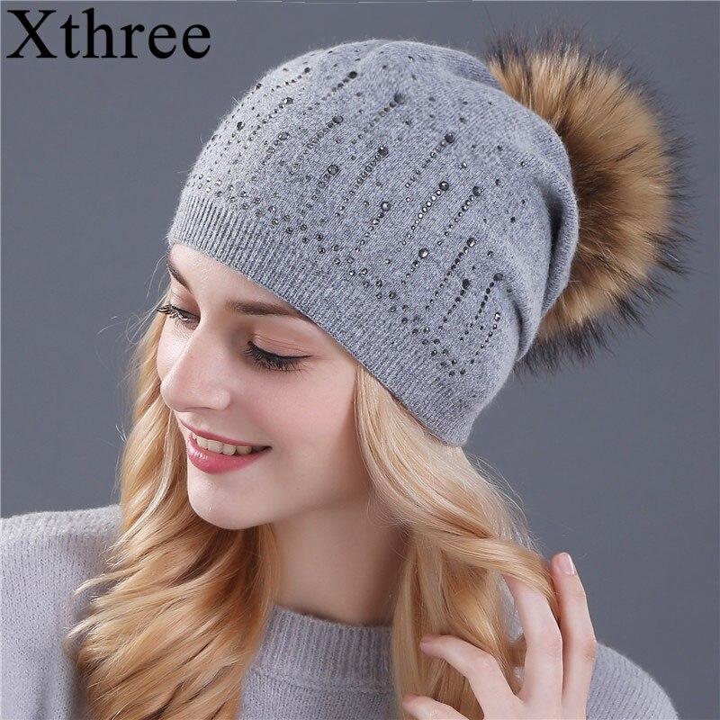 Xthree winter hat for women Rabbit fur wool knitted hat beanies real mink and fox fur pom poms Skullies hat  girls hat feminino