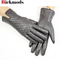sheepskin leather gloves womens touch screen fashion embroidery style new cashmere lining autumn and winter warm gloves