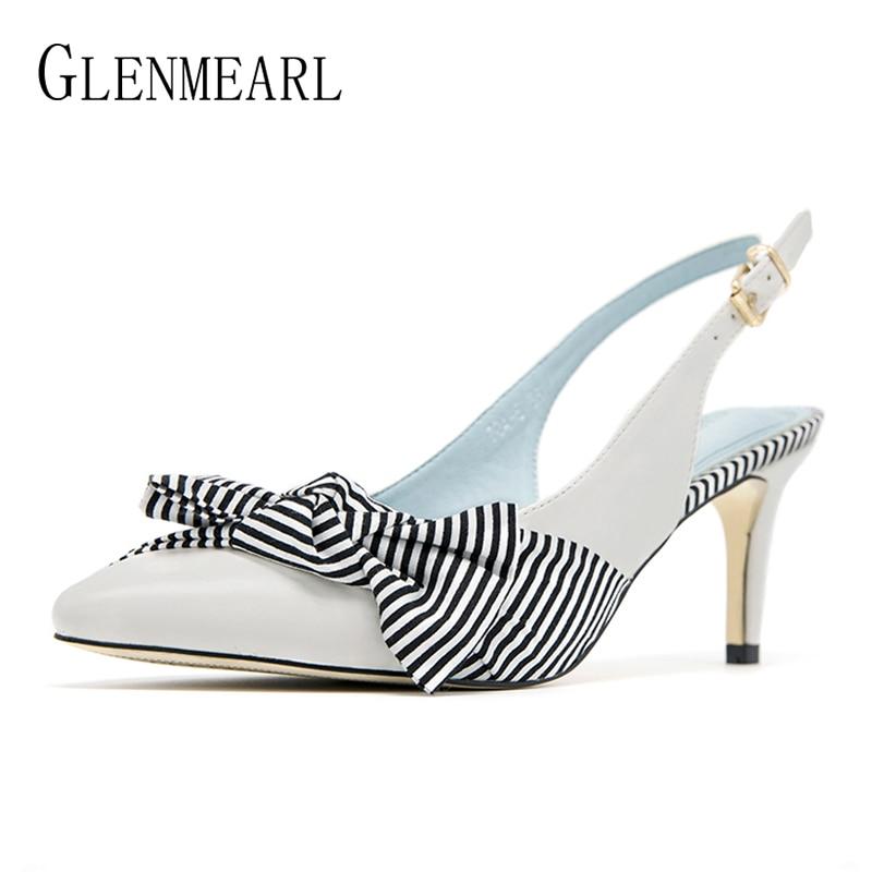 Women Pumps High Heels Shoes Brand Stripe Butterfly knot Summer Shoes Woman Thin Heels Pointed Toe Ladies Dress Shoes Black DE