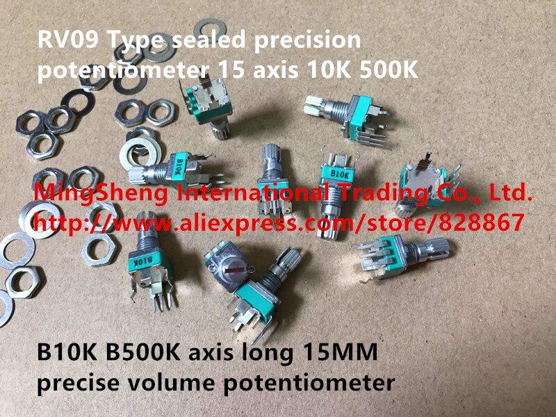 Potenciómetro de precisión sellado tipo RV09 Original nuevo 100% B10K B500K eje 15MM potenciómetro de volumen preciso con interruptor de tornillo