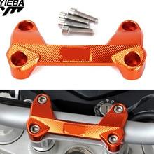 For DUKE 390 200 125 Orange Motorcycle Accessories Aluminum Handlebar Risers Mount Top Cover Clamp Fit For KTM DUKE 390 200 125
