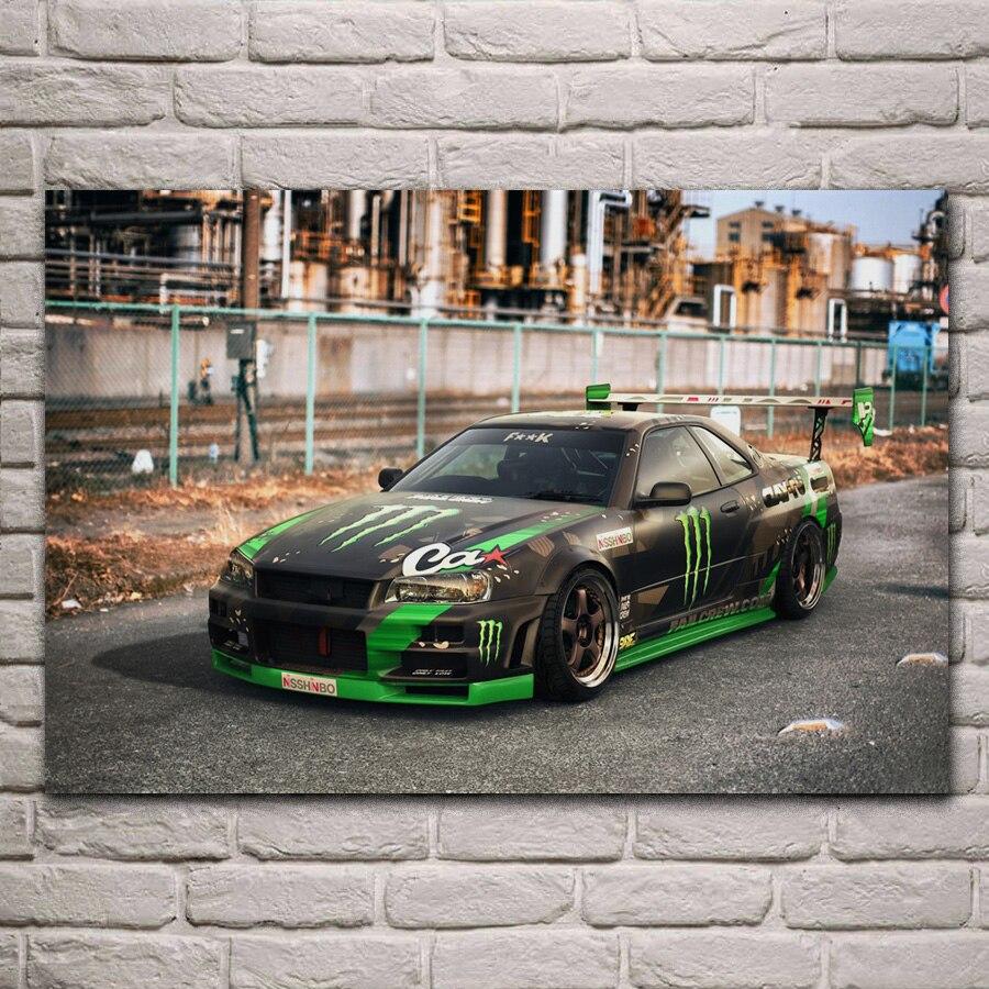 skyline supercar drift tuning sport car living room decor home wall art decor wood frame fabric posters KH626