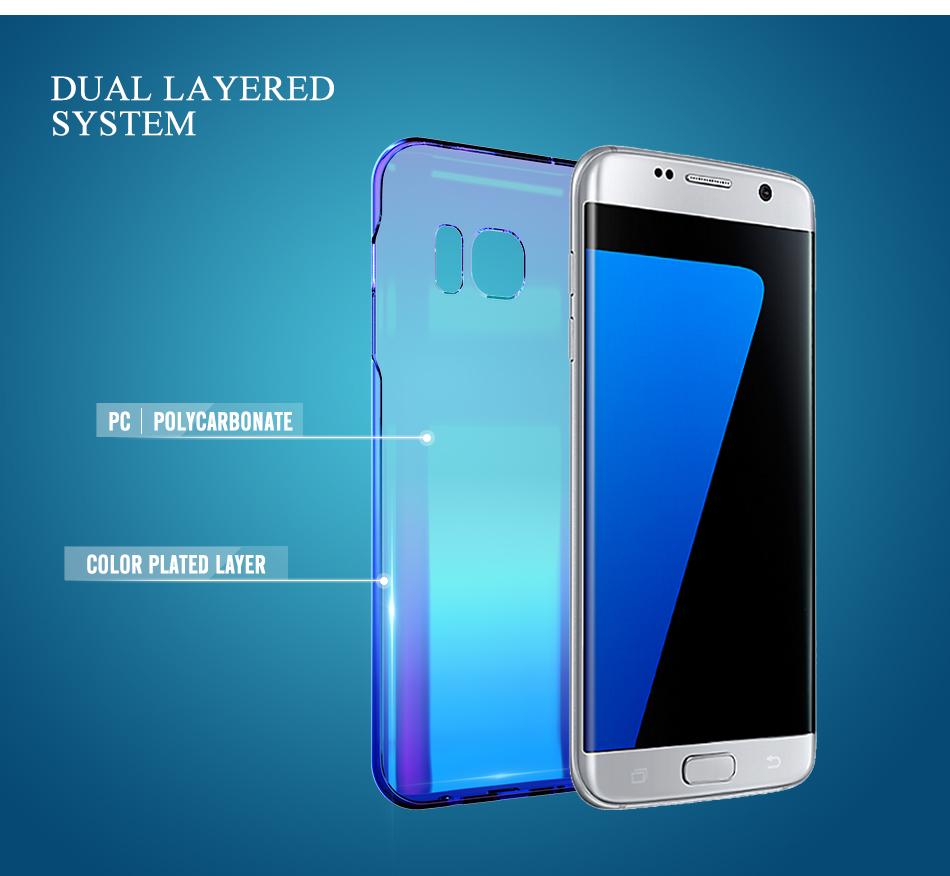 Floveme cool blue ray plastic case do samsung galaxy s7 s8 s6 S7 s8 Plus Krawędzi Gradient Kolor Platerowane Pokrywa Powrót Ochronna Shell 4
