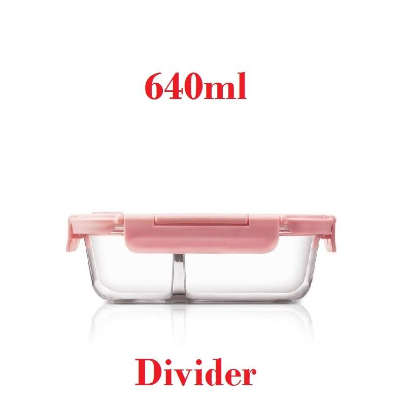 640 مللي الزجاج الغداء مربع مع 2 مقصورات ميكرووافابل مانعة للتسرب الوردي