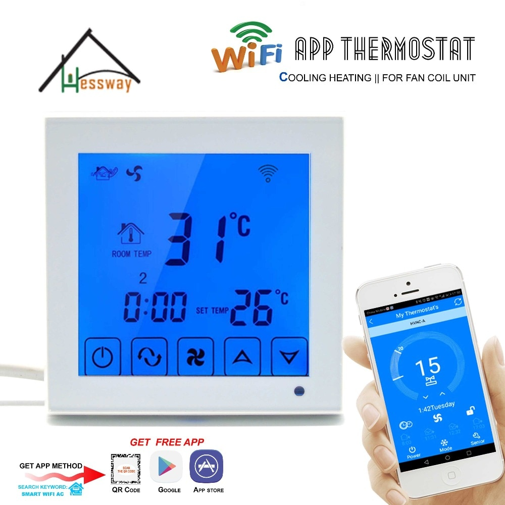 HESSWAY 2p 4p центральный кондиционер, охлаждение, Отопление, умный WiFi термостат для вентилятора, катушки, блок, контроллер комнатной температуры