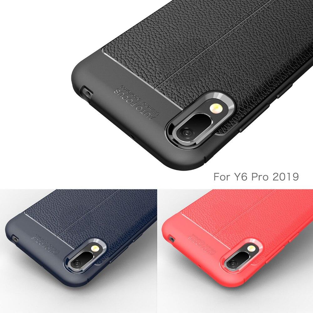 Huawei y6 2019 caso silicone de luxo macio fibra carbono pára-choques capa telefone para huawei y6 2019, y6 pro prime 2019 2018 caso etui