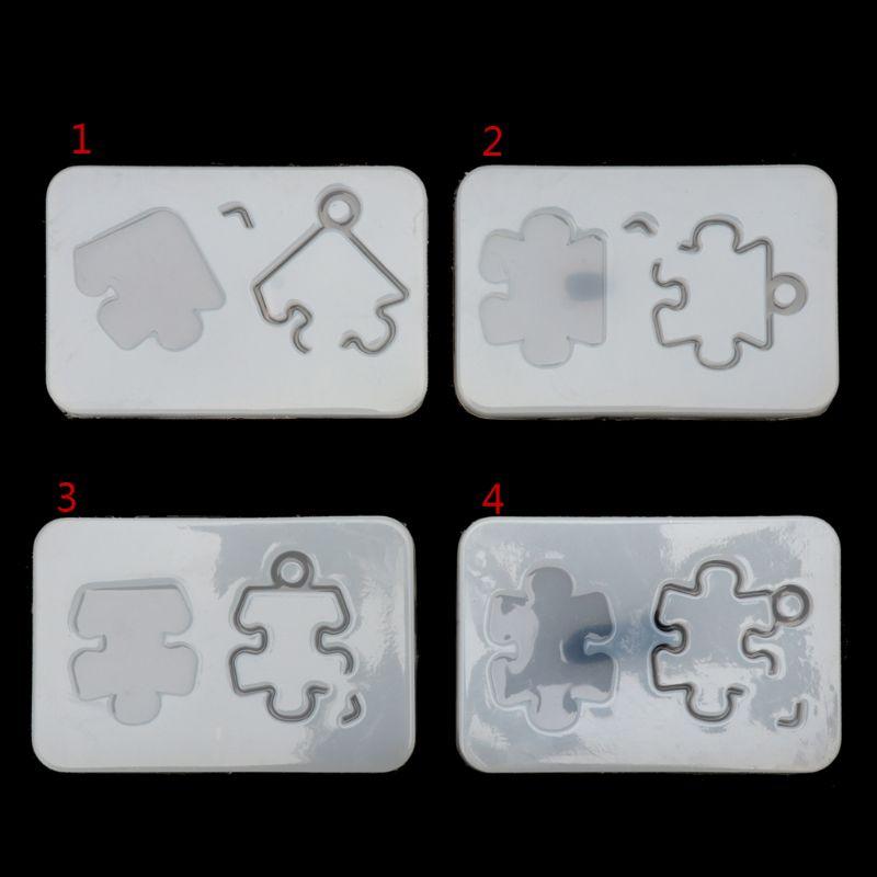 Puzzle pendentif avec trou Silicone moule bricolage résine décorative artisanat fabrication de bijoux