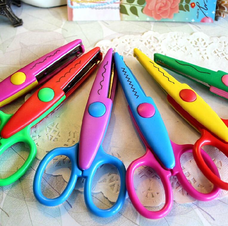 Tesoura de scrapbooking 2 pçs/lote, faça você mesmo, decorativa, com borda, artesanato, artigos de papelaria, para crianças, scrapbook, cartão de artesanato