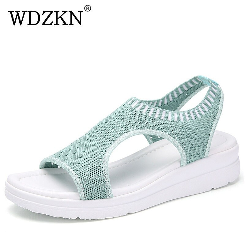 WDZKN 2020 Sandalias de verano para mujer, Sandalias planas informales con punta abierta, Sandalias transpirables de malla de aire para mujer, Sandalias con plataforma
