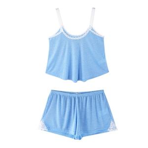 Fashion Solid Camis Tank Tops Lace Patchwork Sexy Shorts Lingerie Pajamas Sets for Women Spring Summer Loose Nightgown Female