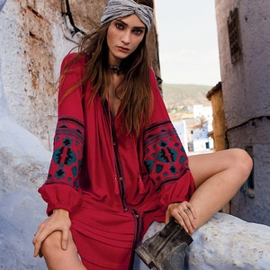 new autumn button o-neck cotton dress bohemian embroidery with button wide fit loose red leisure folk kaftans