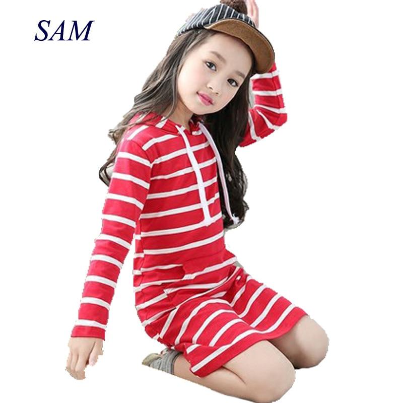 Модное осеннее платье для девочек; Детская одежда с капюшоном и длинными рукавами; Повседневная детская одежда для малышей; Полосатые плать...