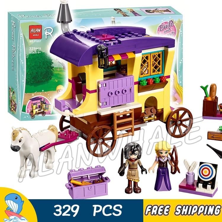 329pcs Princess Rapunzels Travelling Caravan Tangled Forest Cassandra 11057 Model Building Block Brick Compatible With Lago
