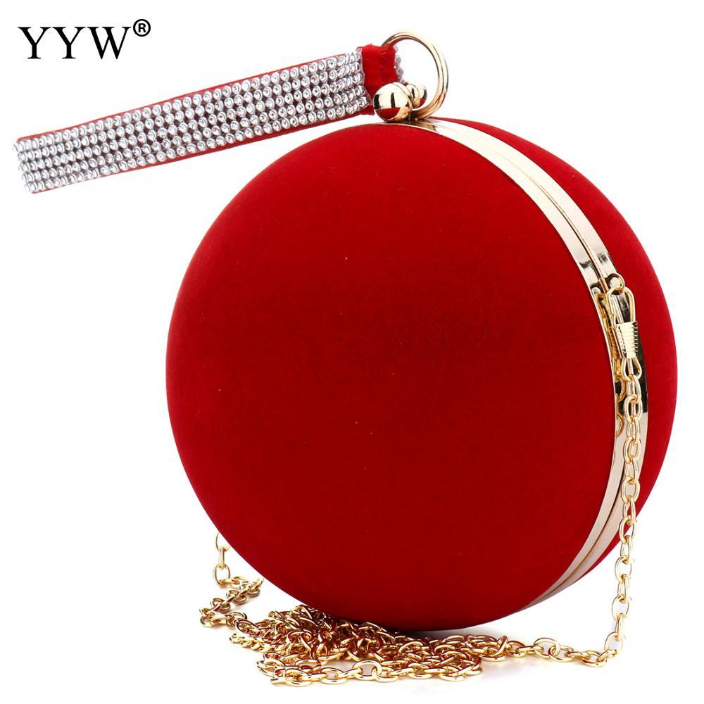 YYW-حقيبة يد نسائية مخملية فريدة من نوعها ، حقيبة يد حمراء ، حقيبة سهرة كروية ، صغيرة ، سلسلة ، حزام كتف