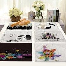 Mantel de mesa con diseño de elementos musicales, mantel de algodón para mesa de comedor de Arte de lino, posavasos para bebidas, decoraciones para fiestas de té