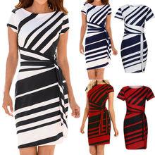 Women Short Sleeve Bodycon Mini Dress Office Striped Pencil Formal Party Dresses