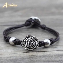 Anslow nova marca bijoux wrap corda artesanal flores diy rosa pulseira de couro feminino dia natal presente frete grátis low0538lb