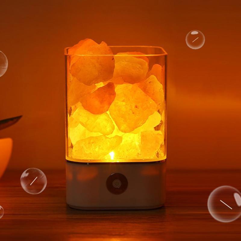 Lámpara de sal Natural del Himalaya con luz de cristal USB, purificador de aire, creador de Ambiente, decoración de dormitorio, lámpara de mesa de noche, lámpara de lava para niños