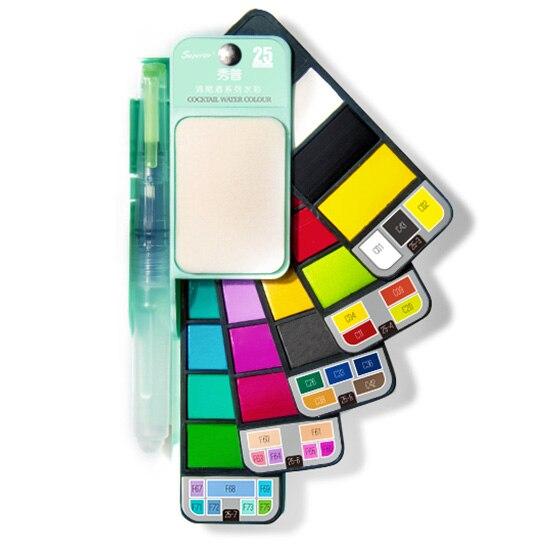 Pintura de pigmento portátil de juego de acuarela de Color sólido Superior 18/25 con pincel de agua Color brillante para estudiantes dibujar pintura al aire libre