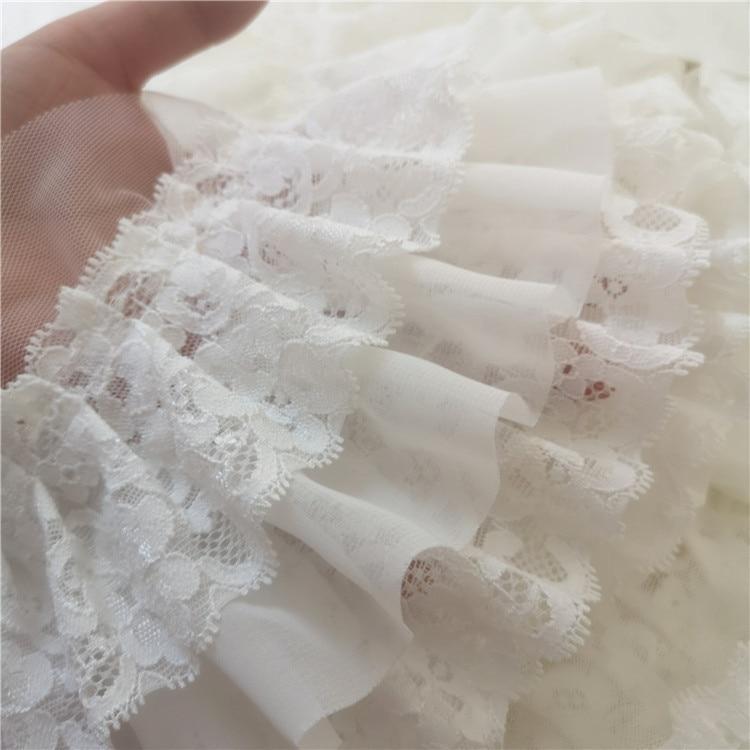 3 capas bordado 3D flor encaje tela cinta DIY costura apliques collar flecos guipure boda tela Decoración