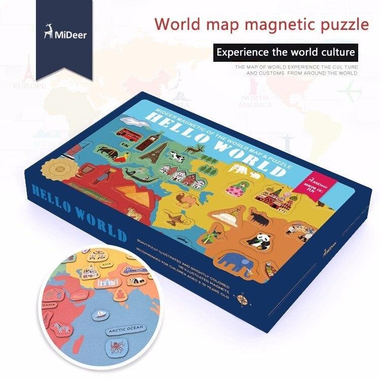 Бумажная карта мира магнитная головоломка опыт мировой культуры Подарочная