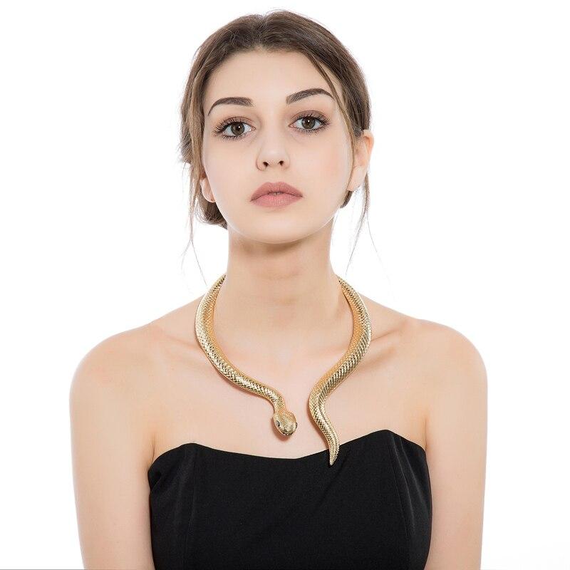 Золотая змея с черными глазами, изогнутая планка, дизайн, регулируемый воротник, колье, ожерелье для женщин, вечерние ювелирные изделия XL048