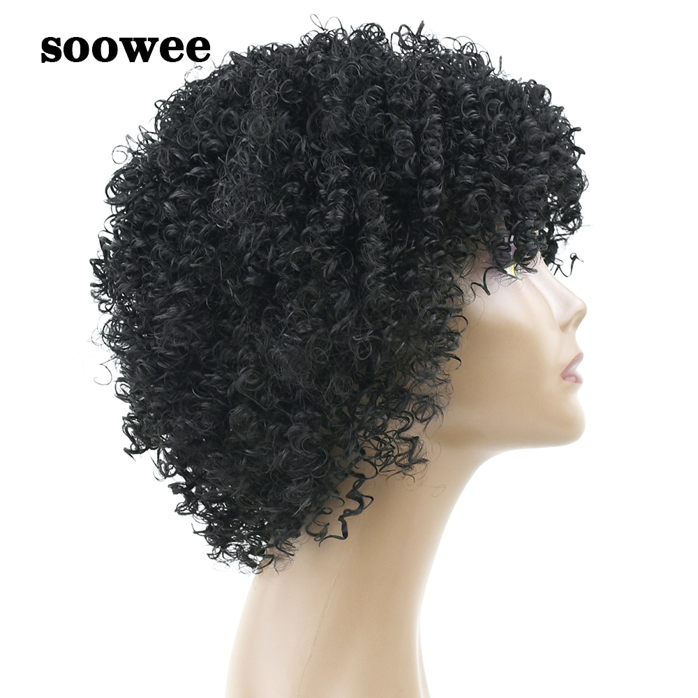 Soowee Synthetic Hair Kinky Curly Short Black Wigs for Black Women Afro Wig Hairstyle Hair Accessories Wigs-female