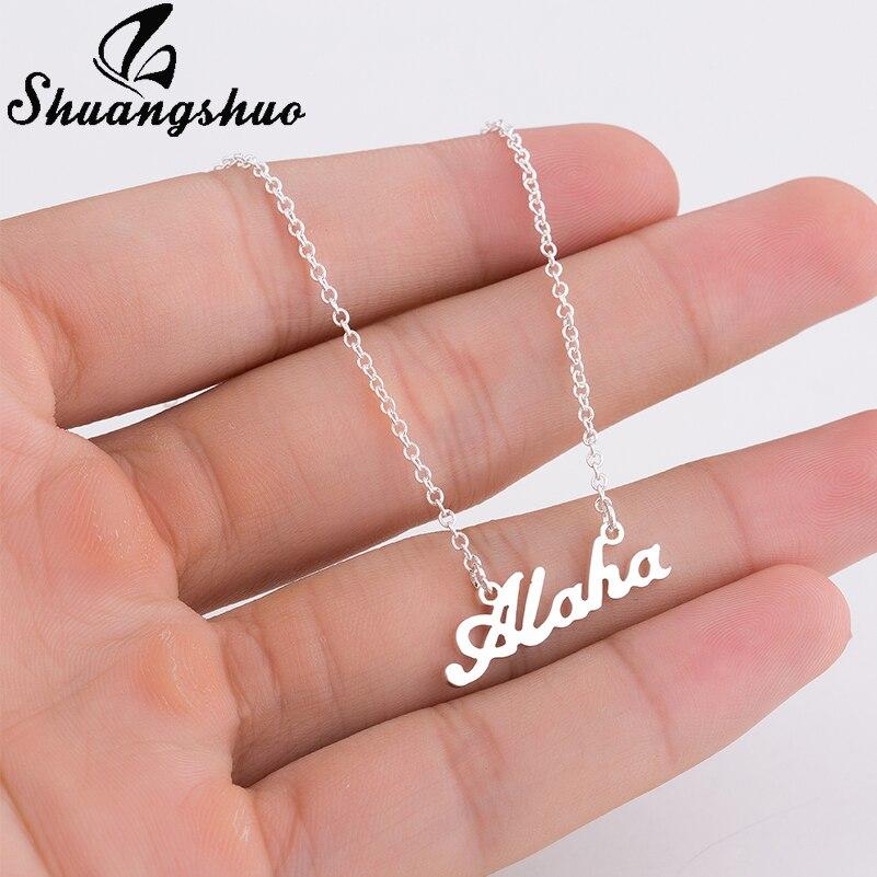 Shuangshuo Hawaiian Necklaces & Pendants Hawaii Aloha Necklace Beach Gold Chain Necklace Love Accessories Choker Jewelry bijoux