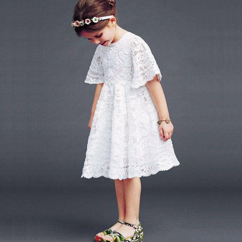 ¡Novedad de 2019! vestido de encaje para niñas, vestido blanco de verano para niñas, vestido de media manga para niños, vestido para niños de 2 a 7 años, #2061