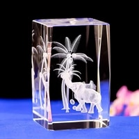 elephant laser engraving crystal night light with changing colors led light base laser engraved elephant