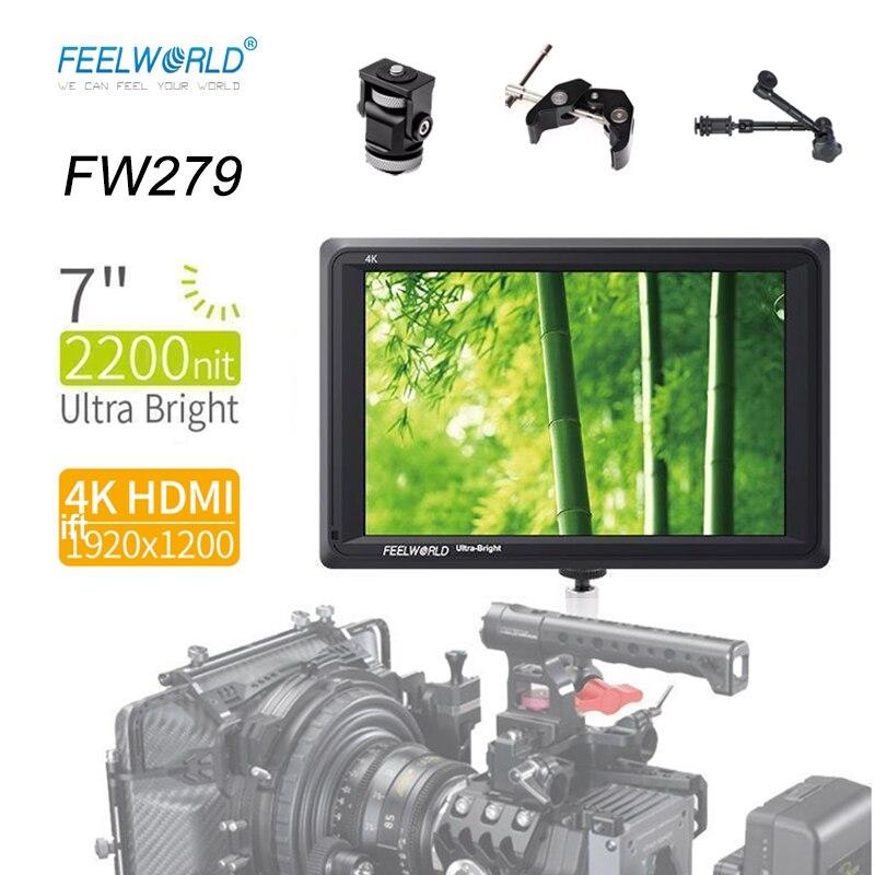 Feelworld FW279 4k camera monitor 7'' Ultra Bright 2200nit on Camera Field DSLR Monitor HDMI Full HD 1920x1200 LCD IPS Monitor