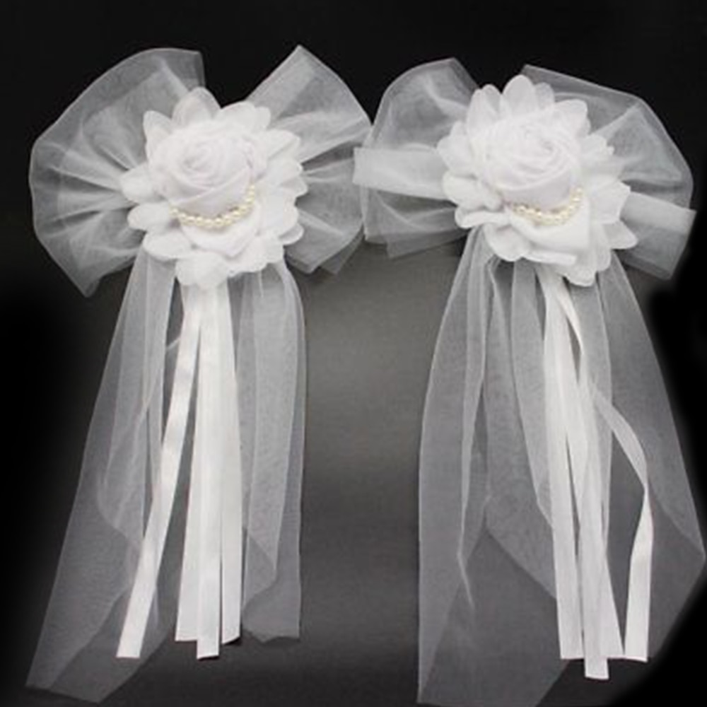 1pc butterfly Knotted Decor Pearl Bud Silk Ribbon Flower for Wedding Party Bridal Car decoration Cha
