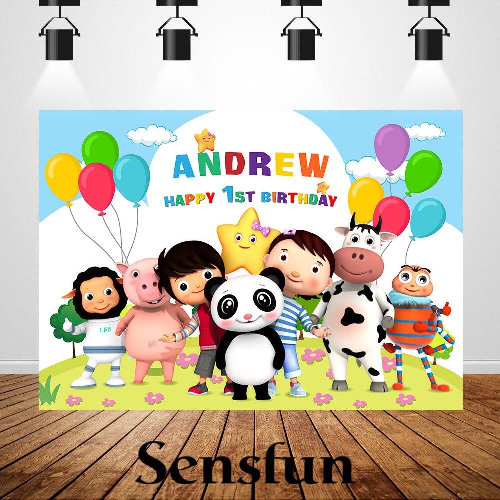 Fondos de tema pequeño bebé Bum recién nacido bebé 1st de cumpleaños personalizado nombre y edad fotografía Photobooth banderines para fiesta de cumpleaños