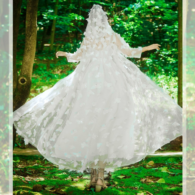 Pregnancy Clothing Summer Maternity Dress Photography Embroidery Butterfly Pregnant Lace Dress Wedding Dresses Sweet Temperament enlarge