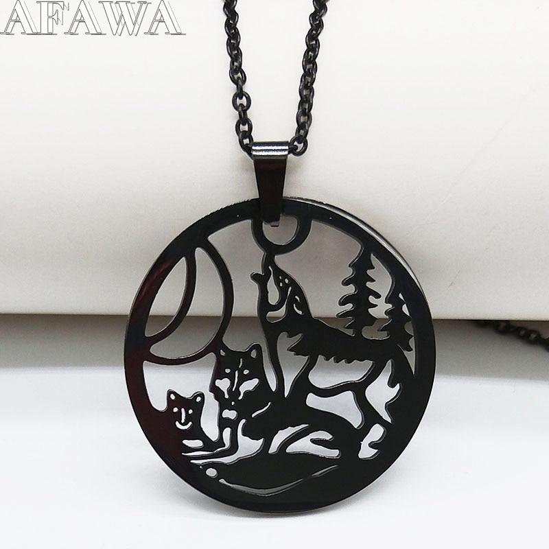 ¡Moda 2020! Collar de acero inoxidable gótico familiar con diseño de lobo para mujer, joyería para hombre N18964