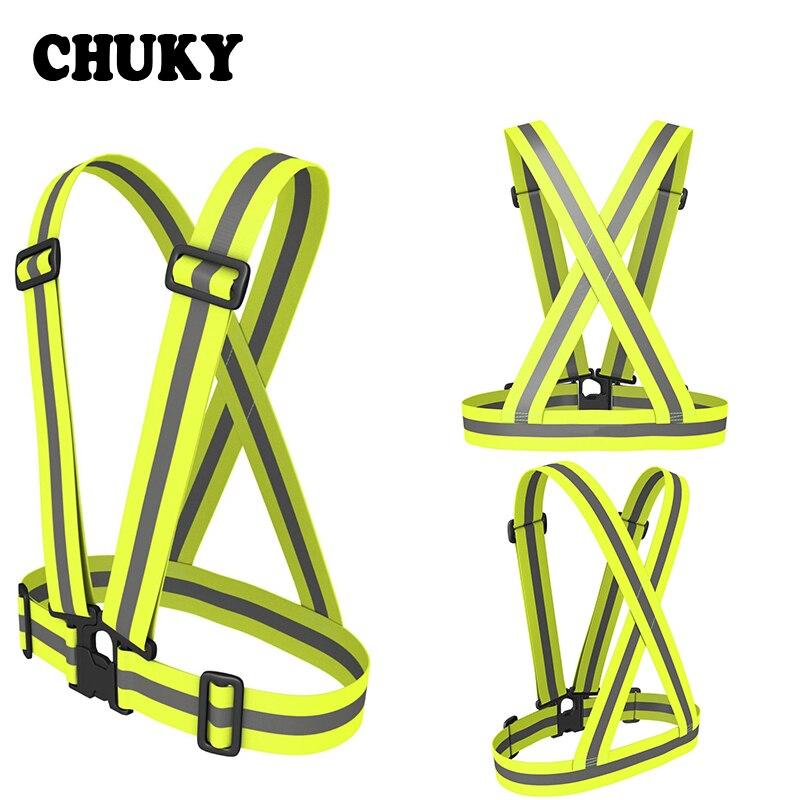 CHUKY Unisex exterior reflectante chaleco cinturón de alta visibilidad de tráfico Chaleco de seguridad apto para correr ciclismo noche deportes portátil