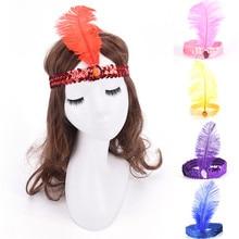 1PC różne kolory akcesoria na głowę z cekinami w stylu Flapper kostium opaska na głowę śliczna opaska z piórami Party Favor rozmiar 23 CM