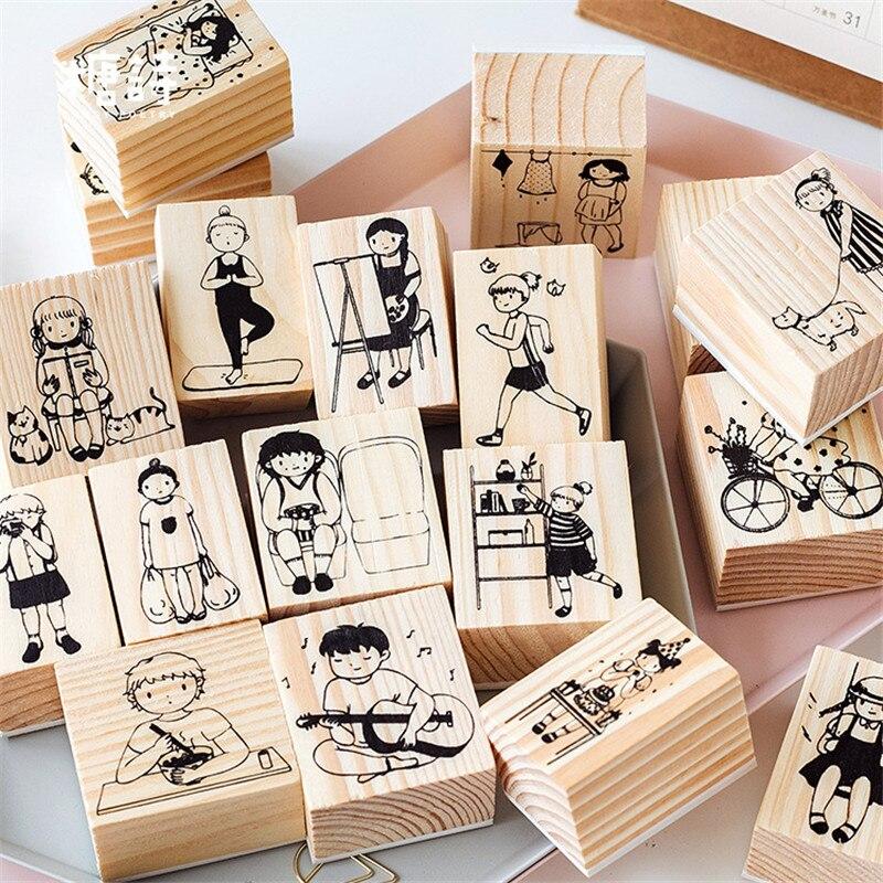 Милые девушки повседневной жизни серии коробки деревянная игрушечная печать скрапбук DIY фото альбом карты украшение ремесло деревянная резиновая печать игрушки новые